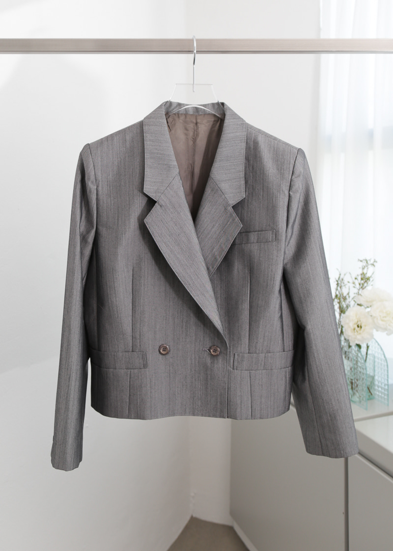 GREY WOOL CROPPED BLAZER