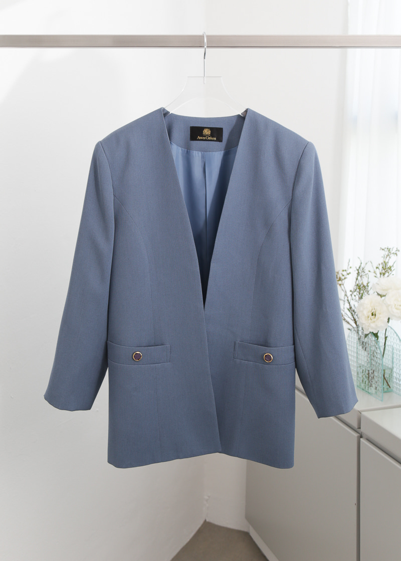 DUSTY BLUE COLLARLESS BLAZER