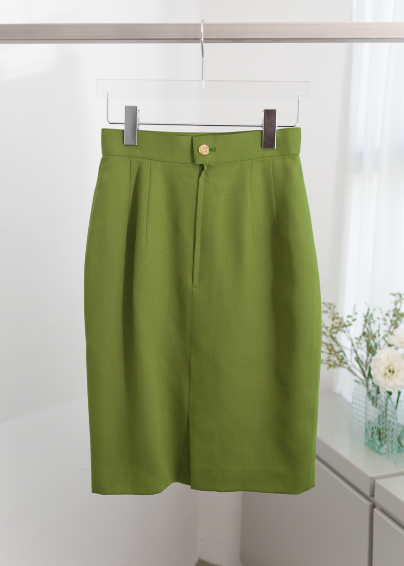 OLIVE GREEN WOOL MINI SKIRT