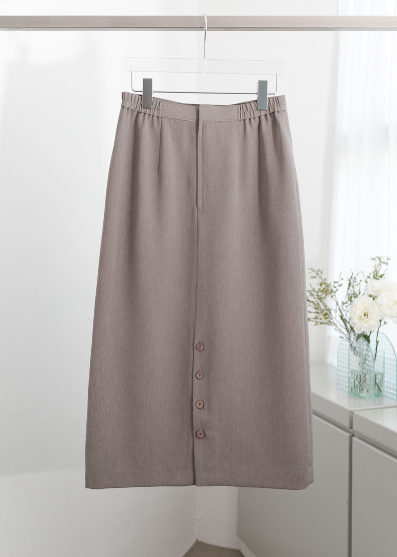 PURPLE GREY BUTTON LONG SKIRT