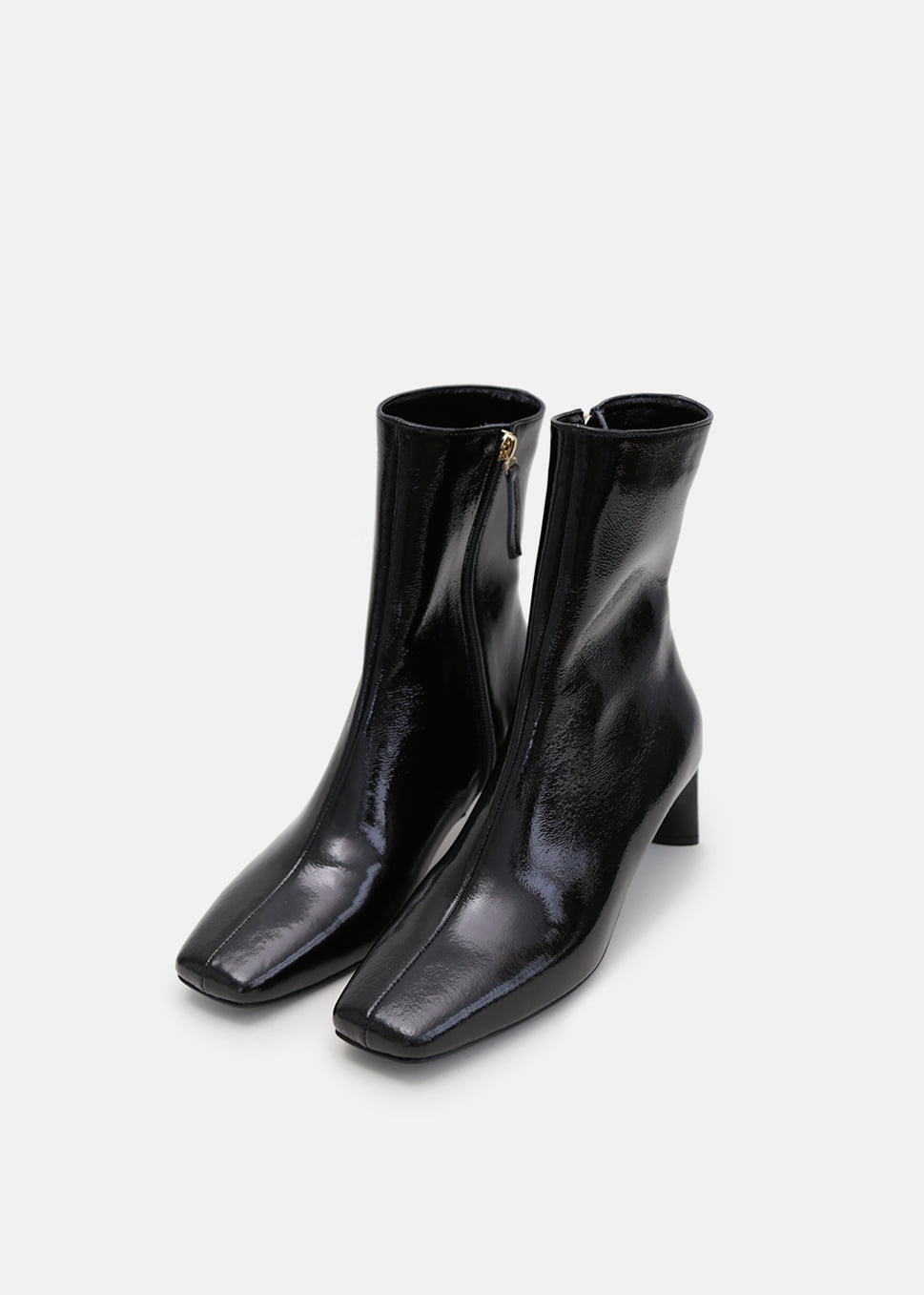 LEONA BOOTS BLACK CRINKLED PATENT LEATHER